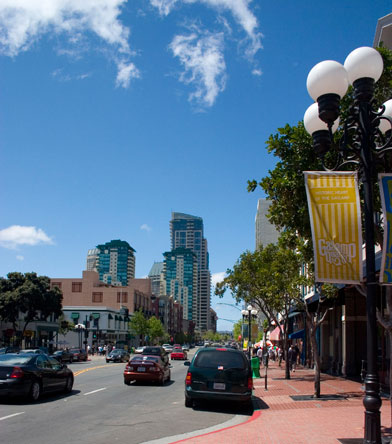 View of Downtown San Diego Gaslamp Quarter