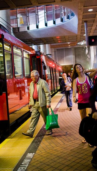 SDSU Transit Center where you can board a trolley