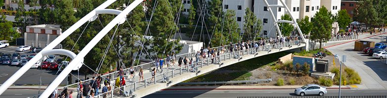 View of pedestrian walking bridge from the second floor of the Union.