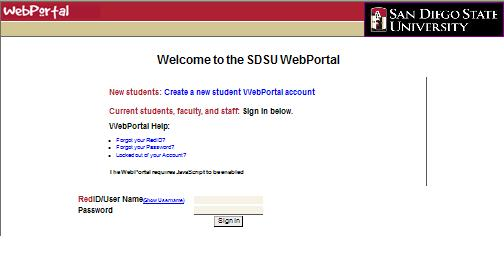 Screenshot of the SDSU WebPortal home page.