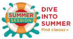 Continue to SDSU 2018 Summer Session. Graphic of orange and white innertube with water splashing.