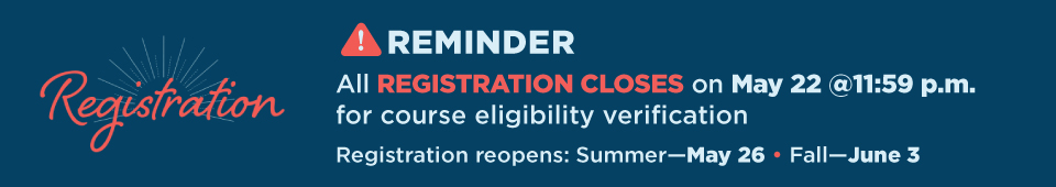 Reminder: All registration closes on May 22 at 11:59 p.m. for course eligibility verification. Summer registration reopens on May 26 and fall registration reopens on June 3.